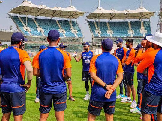 Indian cricket captain Virat Kohli with teammates during a training session at MA Chidambaram Stadium, in Chennai, Tuesday, Feb. 2, 2021.