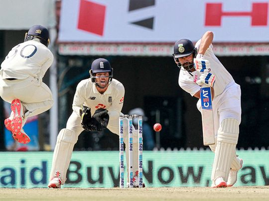 India's Rohit Sharma plays a shot during the 1st day of the second Test against England in Chennai
