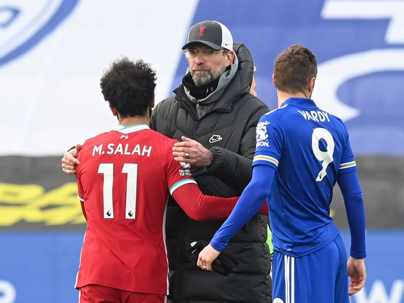 Jurgen Klopp with Mo Salah and Jamie Vardy.