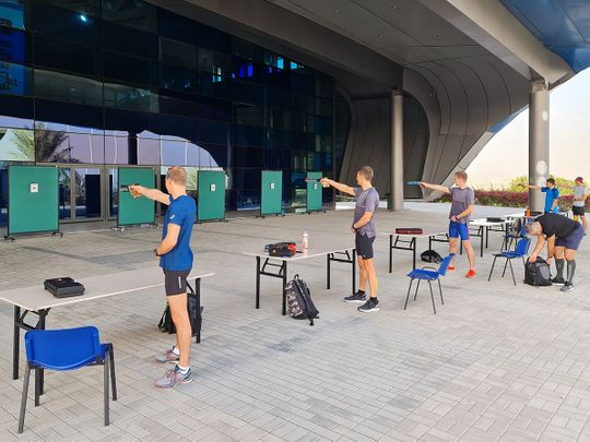 The Czech Olympic modern pentathlon team are training at Hamdan Sports Comlpex in Dubai