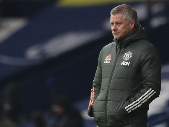 Ole Gunnar Solskjaer looks on during the 1-1 draw with West Brom
