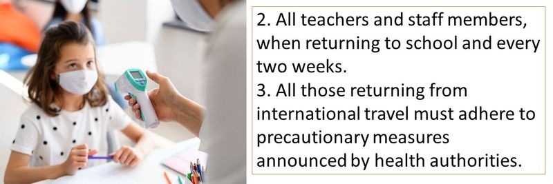 2. All teachers and staff members, when returning to school and every two weeks. 3. All those returning from international travel must adhere to precautionary measures announced by health authorities.