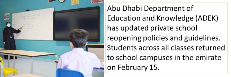 Abu Dhabi Department of Education and Knowledge (ADEK) has updated private school reopening policies and guidelines. Students across all classes returned to school campuses in the emirate on February 15.