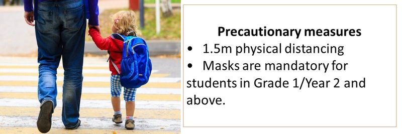 Precautionary measures  •1.5m physical distancing •Masks are mandatory for students in Grade 1/Year 2 and above.