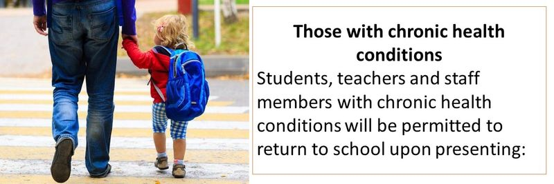 Those with chronic health conditions Students, teachers and staff members with chronic health conditions will be permitted to return to school upon presenting: