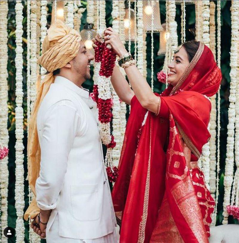 Vaibhav Rekhi and Dia Mirza on their wedding day