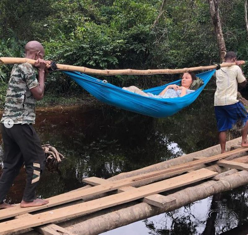 Ashley Judd being carried out of the jungle in Congo