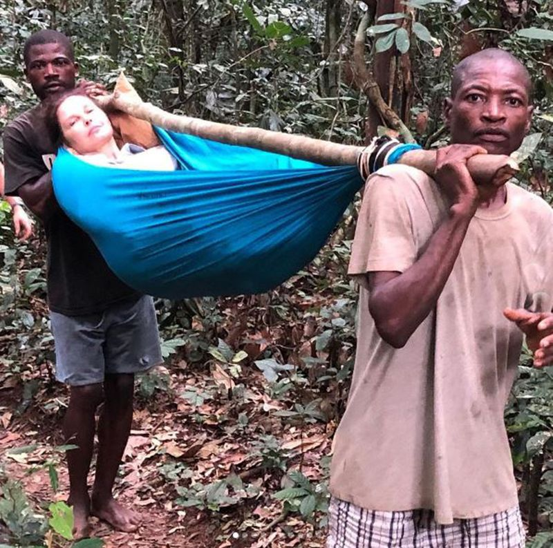 Ashley Judd being rescued from the Congo rainforest