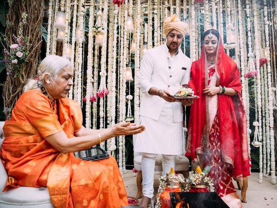 Dia Mirza on her wedding day with husband Vaibhav Rekhi and priestess Sheela Atta.