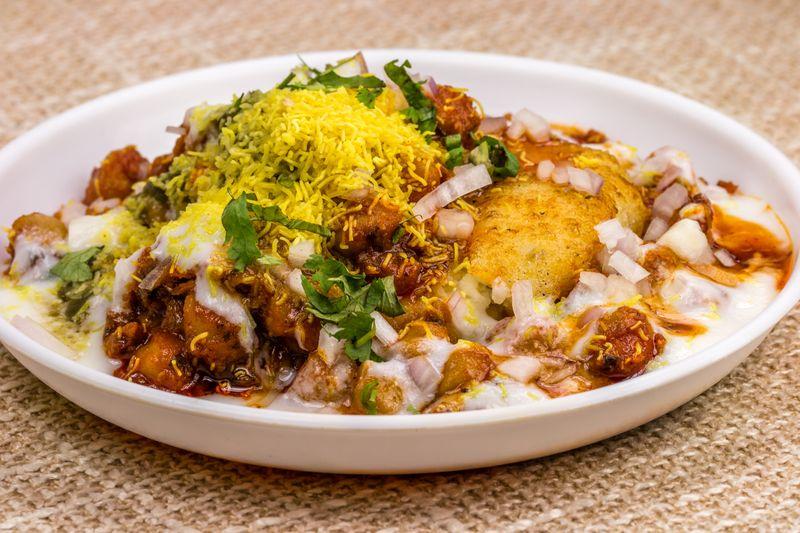 Indian street snack aloo chaat