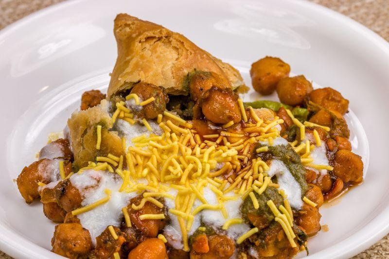 Indian street snack samosa chaat