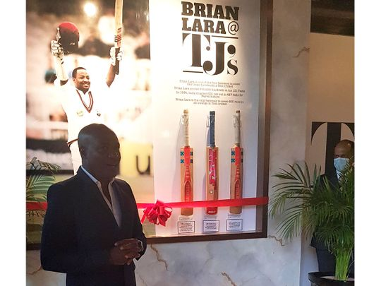 Brian Lara speaks at the donation of his famous cricket bats in Dubai