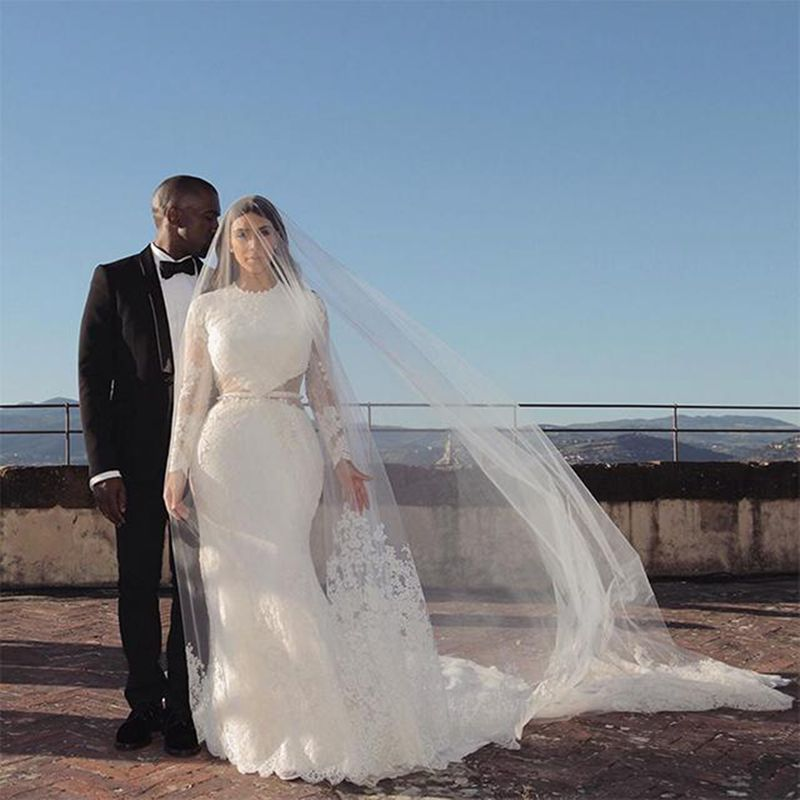 Kanye West and Kim Kardashian West on their wedding day