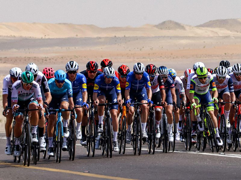 Cyclists pedal during the first stage of the UAE tour cycling race, from Al Dhafra Castle to Al Mirfa, Abu Dhabi, Sunday