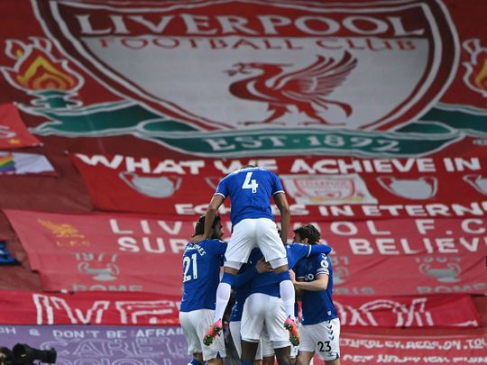 Everton celebrate first win against Liverpool at Anfield this century.