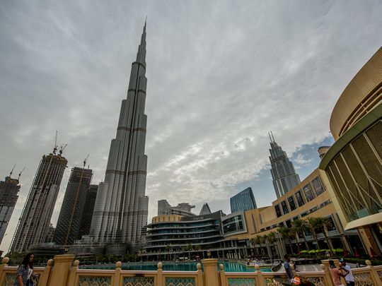 Heavy clouds over Down Town Burj Khalifa.