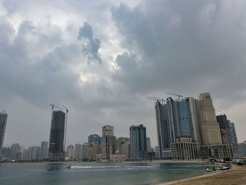 Sudden change in weather with over cast sky in Sharjah.