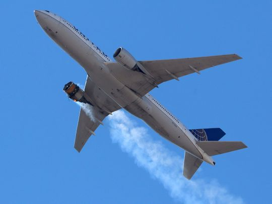 United Airlines flight UA328, carrying 231 passengers and 10 crew on board, returns to Denver International Airport with its starboard engine on fire after it called a Mayday alert, over Denver, Colorado.