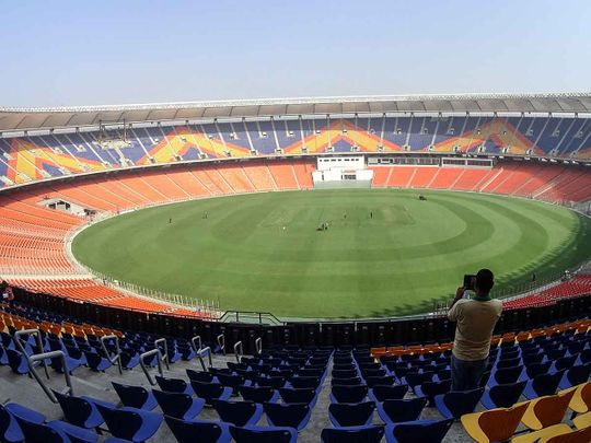 A general view of the Sardar Patel Stadium, the world's biggest cricket stadium, is pictured ahead of the third Test match between India and England, in Motera on the outskirts of Ahmedabad