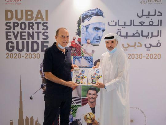Avram Grant with Dubai Sports Council's Saeed Hareb