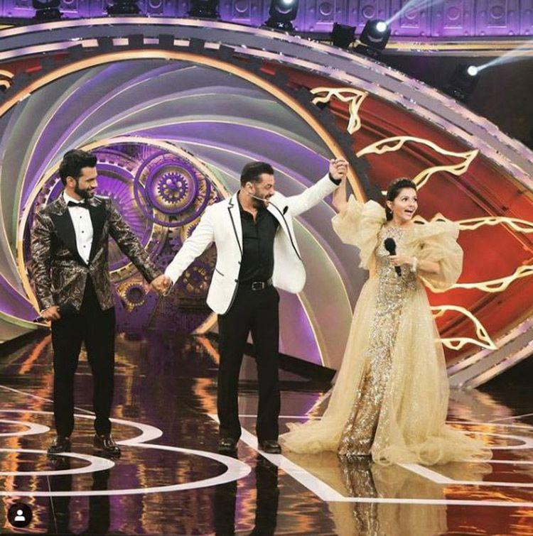 Bigg Boss 14 winner Rubina Dilaik with Salman Khan