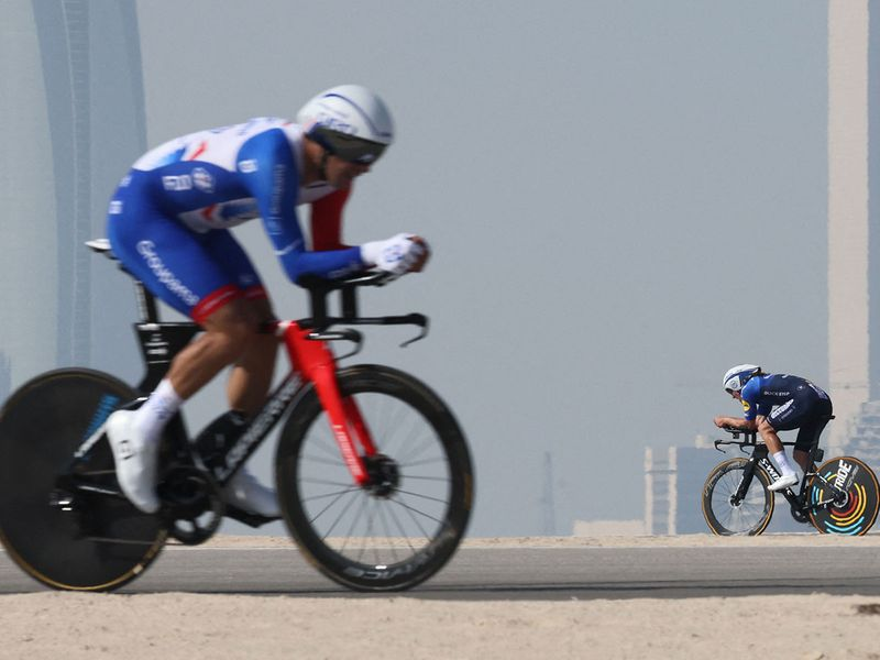 Cyclists in action during Stage 2 of the UAE Tour on Al Hudayriyat Island in Abu Dhabi