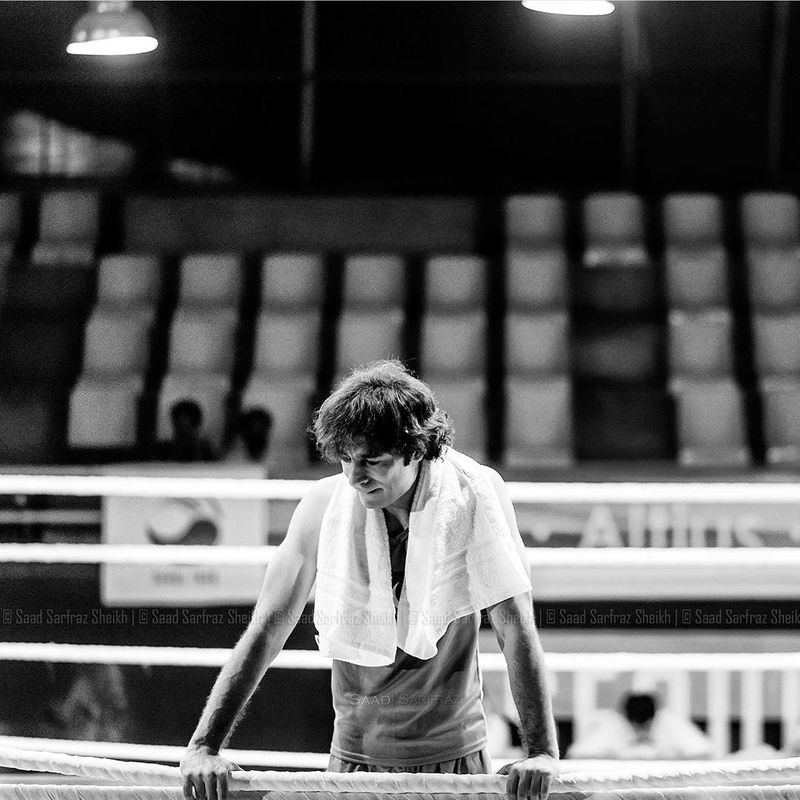 Director Adnan Sarwar in a snapshot of the 2015 boxing movie SHAH-1613993689186