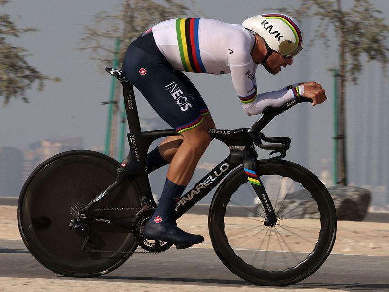 Filippo Ganna during Stage 2 of the UAE Tour on Al Hudayriyat Island in Abu Dhabi