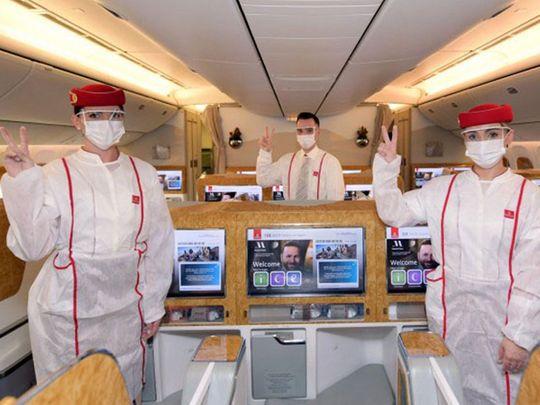 Stock Emirates airline cabin crew
