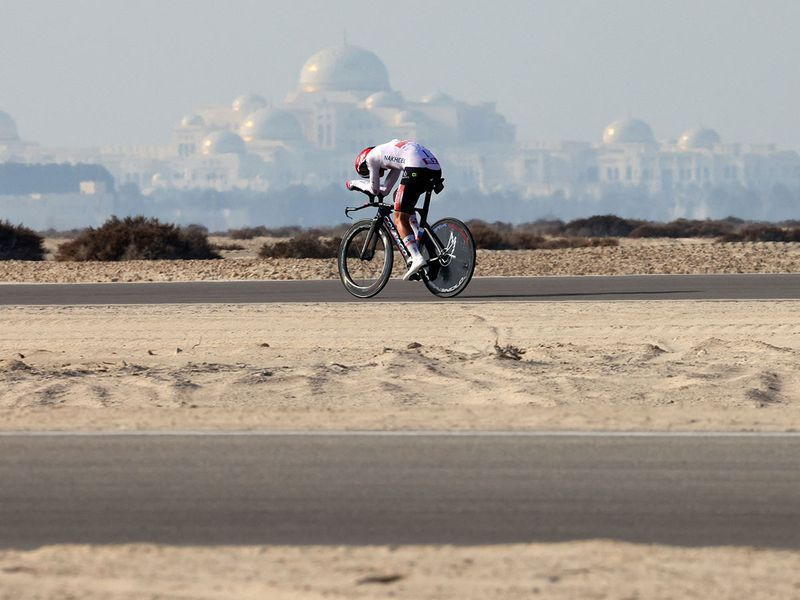 Tadej Pogacar during Stage 2 of the UAE Tour on Al Hudayriyat Island in Abu Dhabi