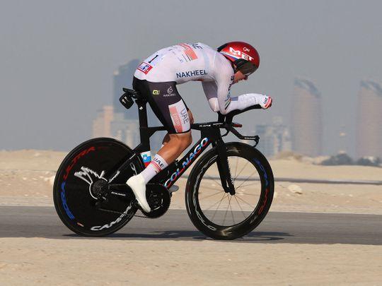 UAE Team Emirates Tadej Pogacar in action on Stage 2 of the UAE Tour