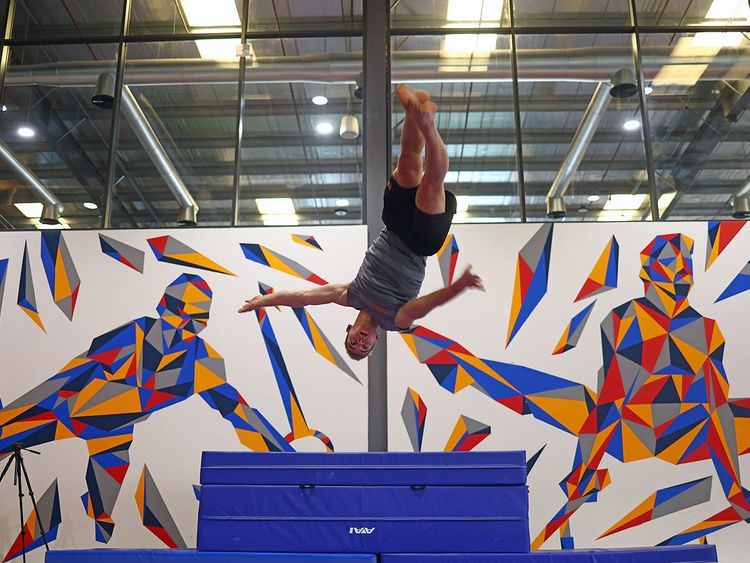 Netherlands' Olympic gymnasts practise at Fly High Fitness in Dubai