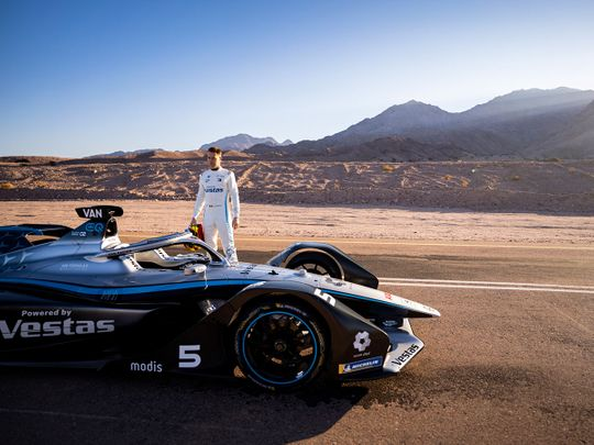 Stoffel Vandoorne with the Mercedes-EQ Formula E Team Silver Arrow all-electric car in Neom