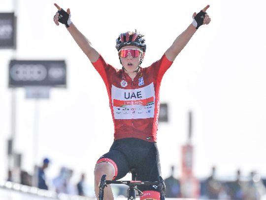 Tadej Pogacar wins Stage 3 of the 2021 UAE Tour