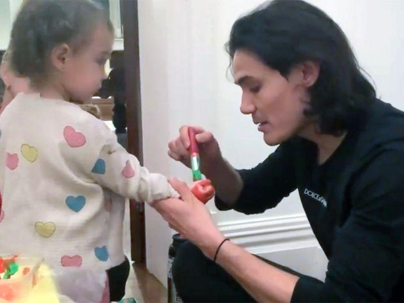 Edinson Cavani with daughter India.