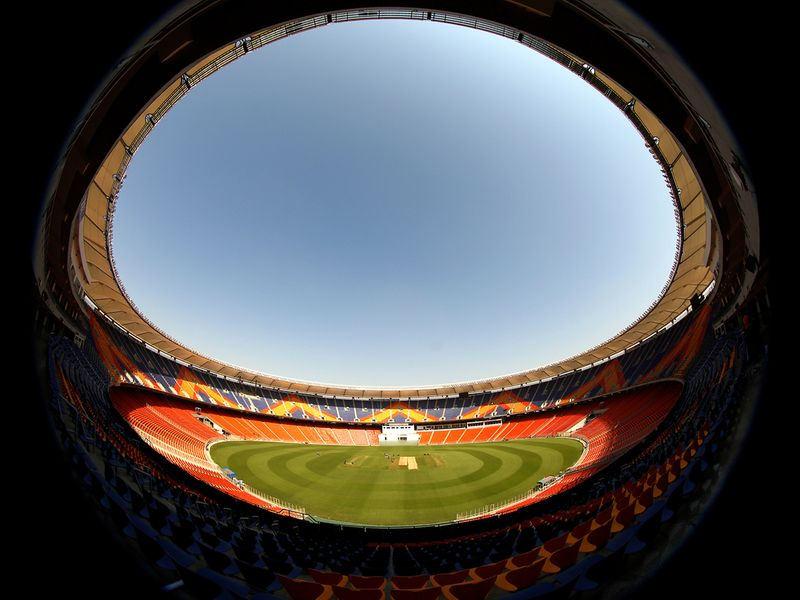 Fish eye view of Narendra Modi Stadium ahead of the third test match between India and England, at Motera in Ahmedabad on Wednesday.