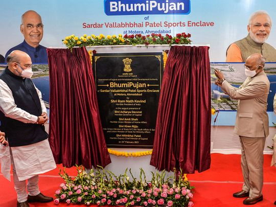 India's President Ram Nath Kovind and Union Home Minister Amit Shah during the 'Bhumi Pujan'  of Sardar Vallabhbhai Patel Sports Enclave at Motera Stadium in Ahmedabad, on Wednesday, February 24, 2021.