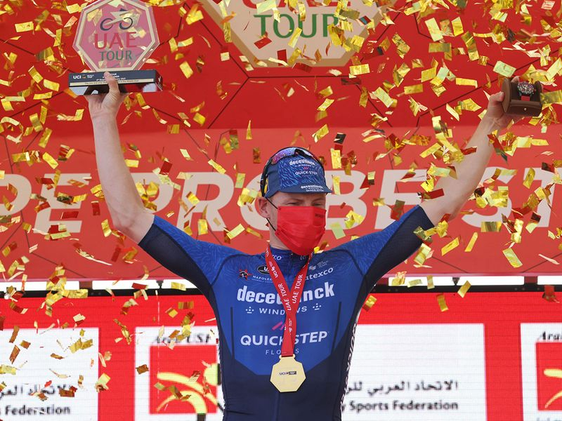 Sam Bennett of Deceuninck - Quick-Step - crossed the line first in a bunch sprint on Stage 4, the Hope Probe Stage, of the third edition of the UAE Tour.