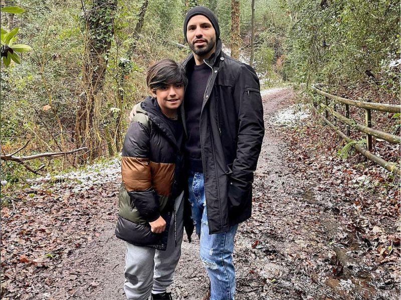 Sergio Aguero and his son.