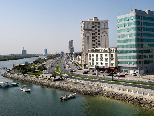 Stock RAK Ras Al Khaimah skyline