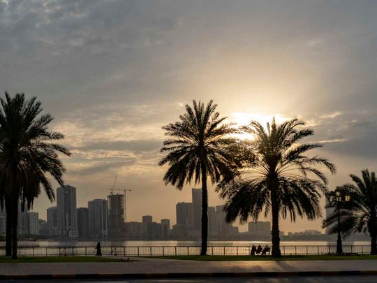 Stock Sharjah weather skyline property