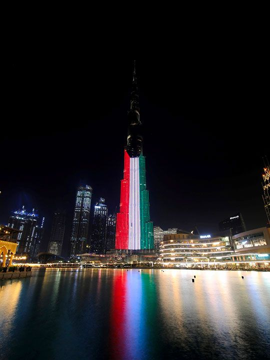 Photos: Dubai landmarks light up in flag colours to mark 60th Kuwait National Day