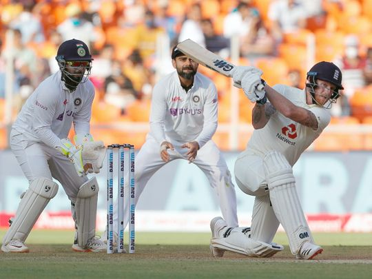 England's Ben Stokes during 2nd day of the 3rd Test vs India at Narendra Modi Stadium, Motera in Ahmedabad.