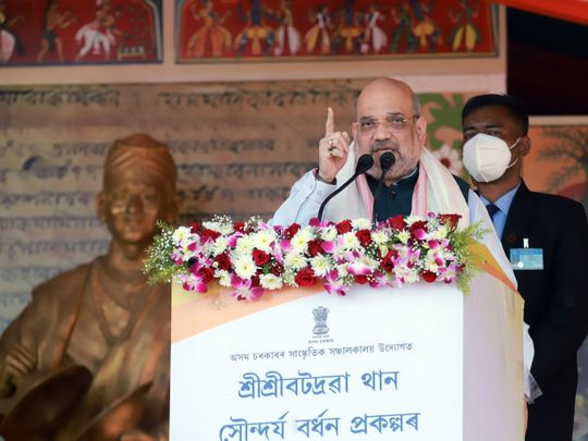 India's Union Home Minister Amit Shah addresses a public rally at Bordowa, in Nagaon, Assam, on Thursday, February 25, 2021.