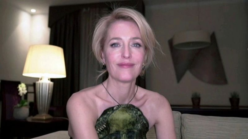 Gillian Anderson in this handout screen grab from the 78th Annual Golden Globe Awards in Beverly Hills, California, U.S., February 28, 2021. NBC Handout via REUTERS ATTENTION EDITORS - THIS IMAGE HAS BEEN SUPPLIED BY A THIRD PARTY. NO RESALES. NO ARCHIVES.