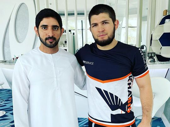 HH Sheikh Hamdan bin Mohammed bin Rashid Al Maktoum, the Crown Prince of Dubai, was snapped with UFC legend Khabib Nurmagomedov at Nad Al Sheba Sports Complex