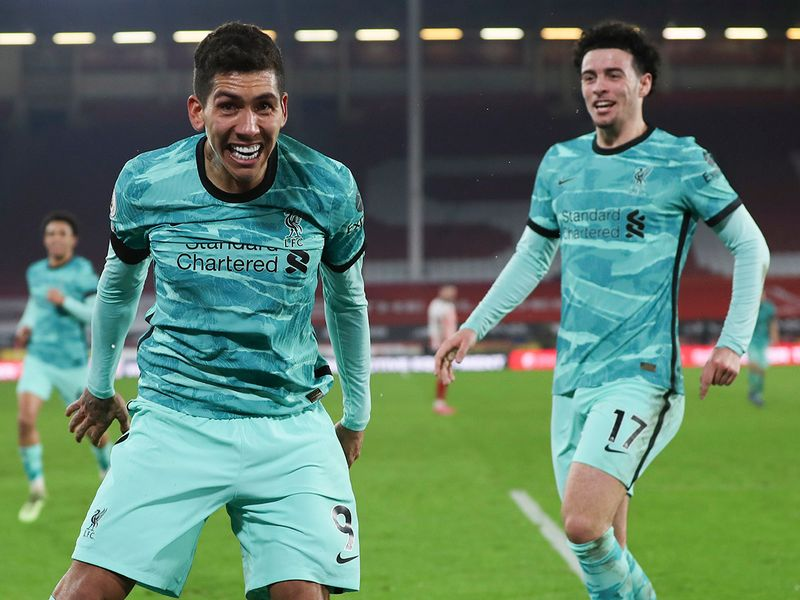 Liverpool celebrate against Sheffield United.