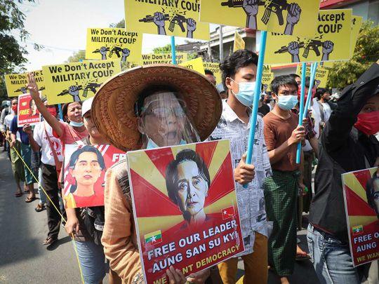 Myanmar protests Suu Kyi