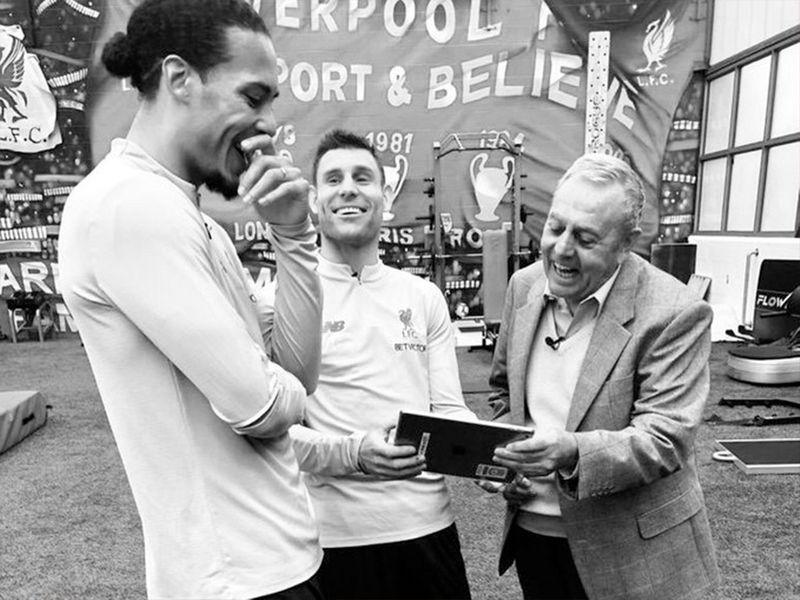 Liverpool's Virgil Van Dijk and James Milner with Ian St John.