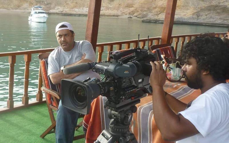 Omani director Dr Khalid Al Zadjali on set